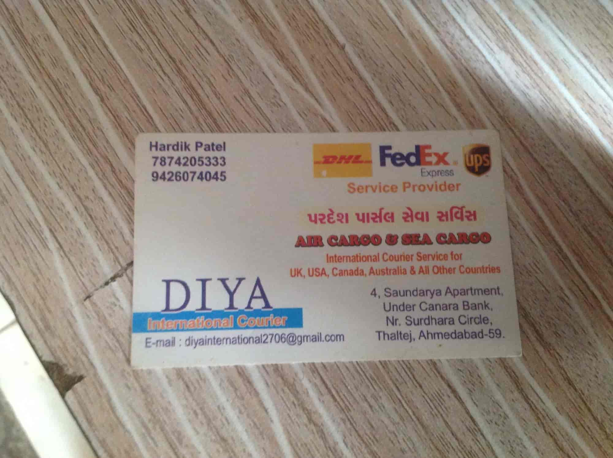 Diya International Courier Thaltej Courier Services In Ahmedabad Justdial