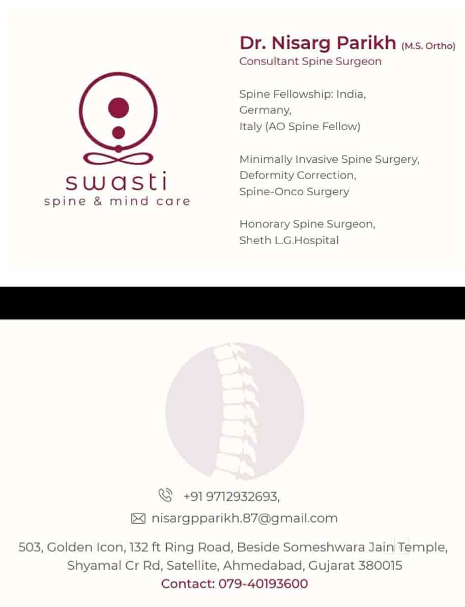 Swasti Spine And Mind Care - Spine Surgeons - Book