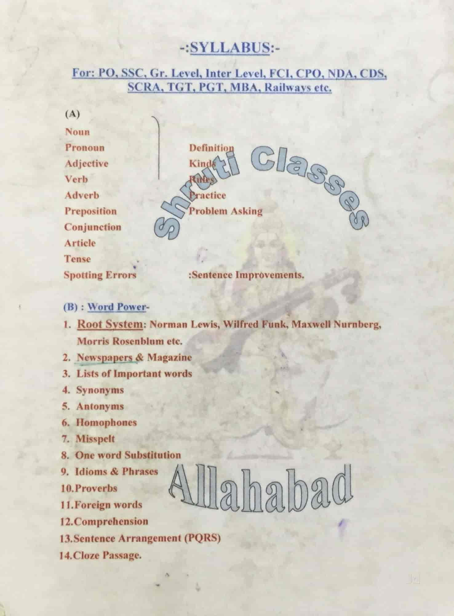 Shruti Classes, Stainly Road - Tutorials For English Grammar