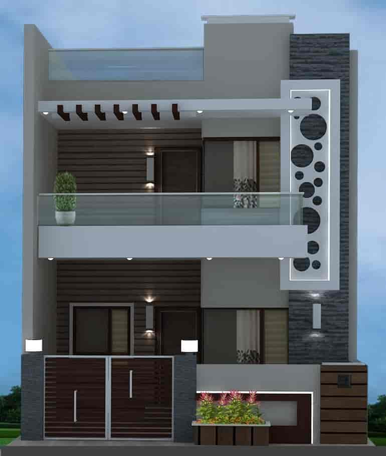 House Front Elevation Part - 18: ... Chitramukta 3D Exterior Front Elevation Photos, Cantt, ...