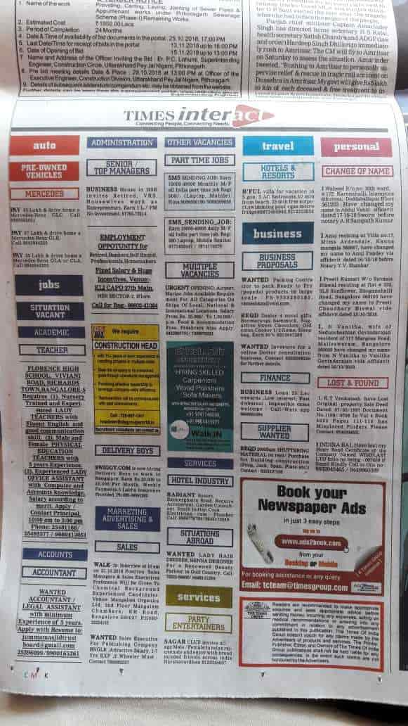 The TIMES Of INDIA, M G Road - Advertising Agencies in Bangalore