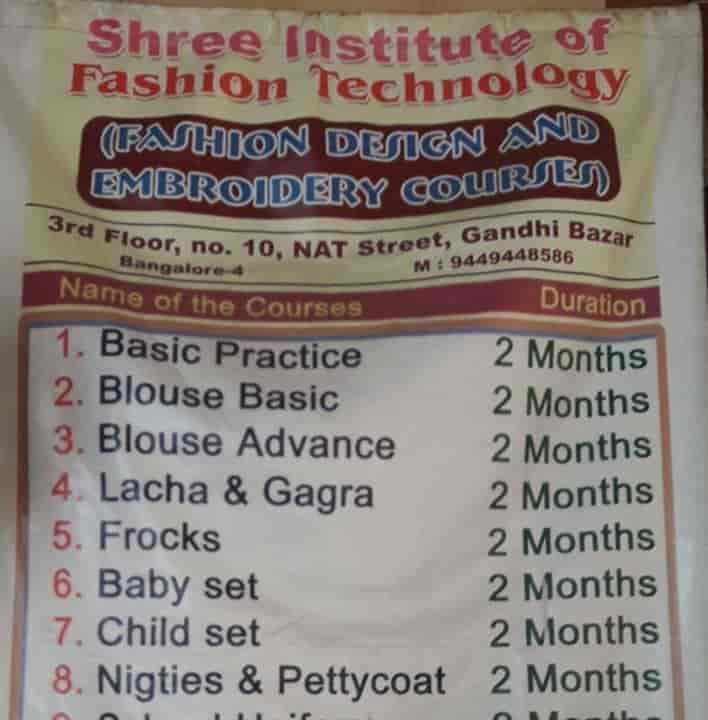 Shree Institute Of Fashion Technology Gandhi Bazar Tailoring Classes In Bangalore Justdial