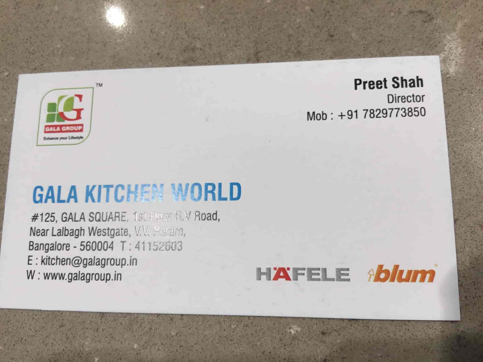 Gala Kitchen World, V V Puram - Modular Kitchen Dealers in Bangalore