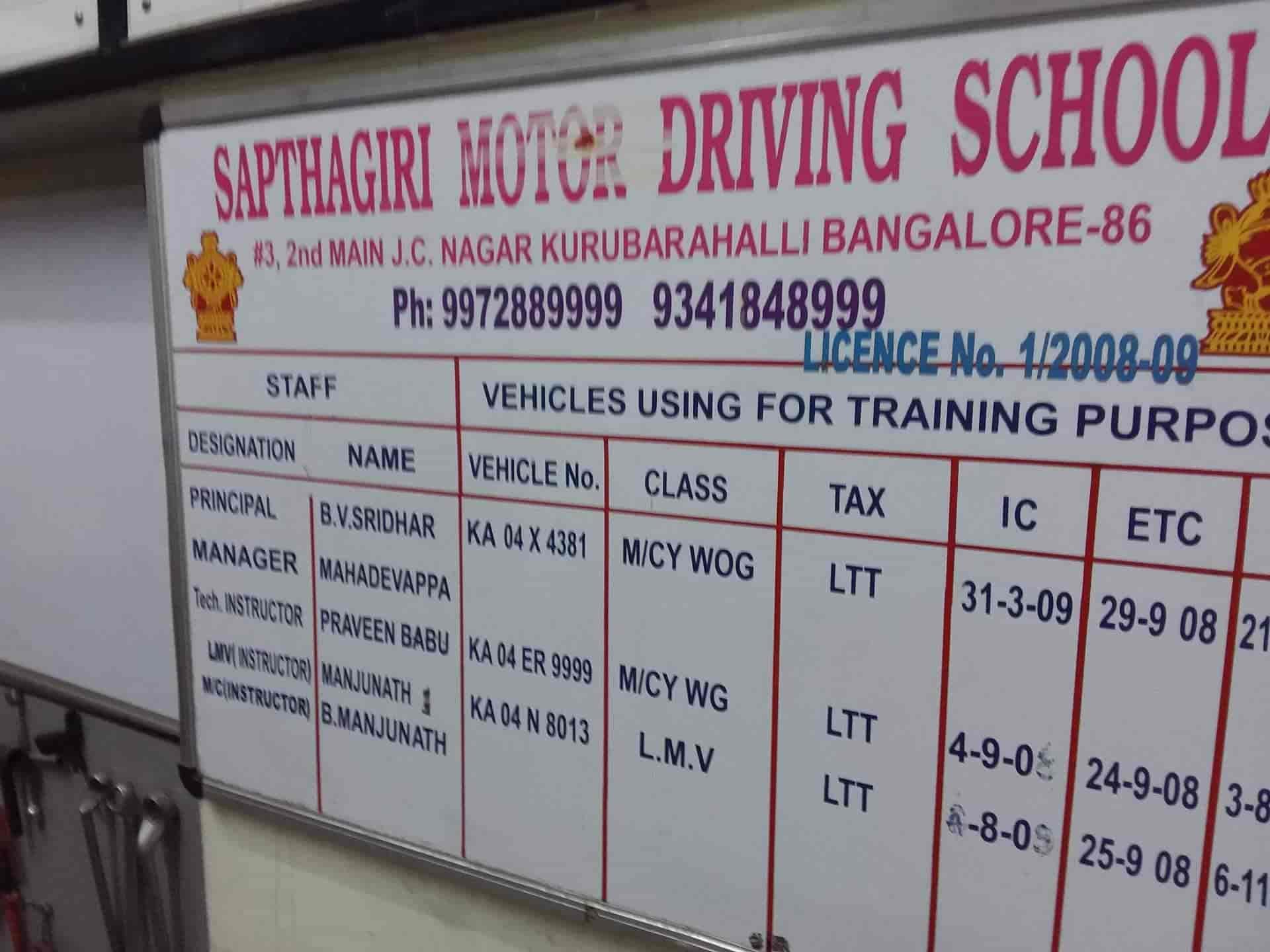 Sapthagiri Motor Driving School Mahalakshmipuram Layout Piping Course In Delhi Training Schools Bangalore Justdial