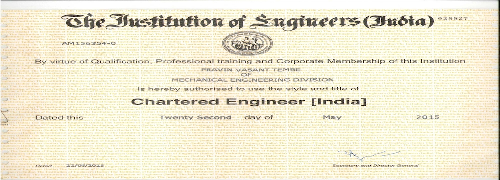 Tembe Competent Services Midc Chartered Engineer Certification