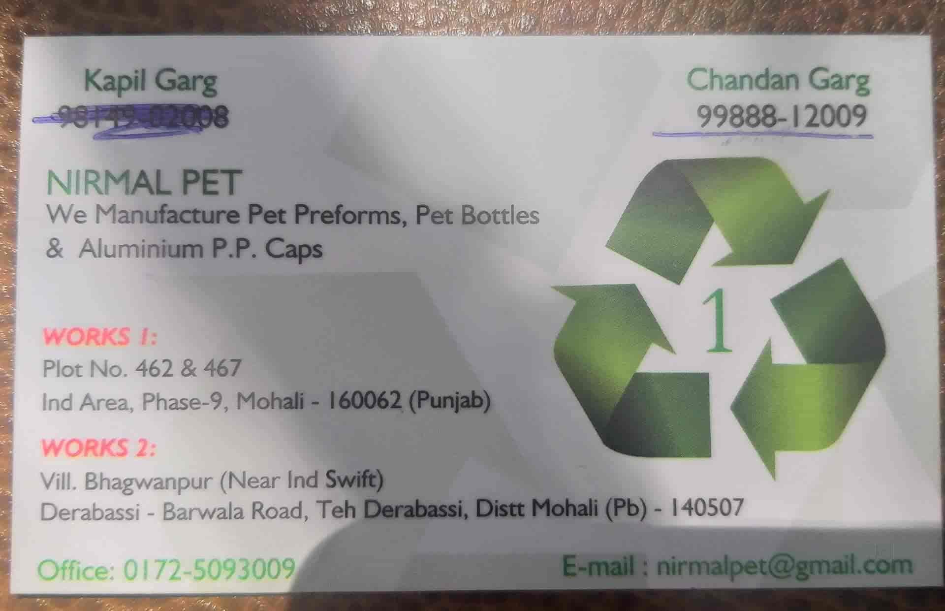 Nirmal Pet, Mohali - Bottle Manufacturers in Chandigarh
