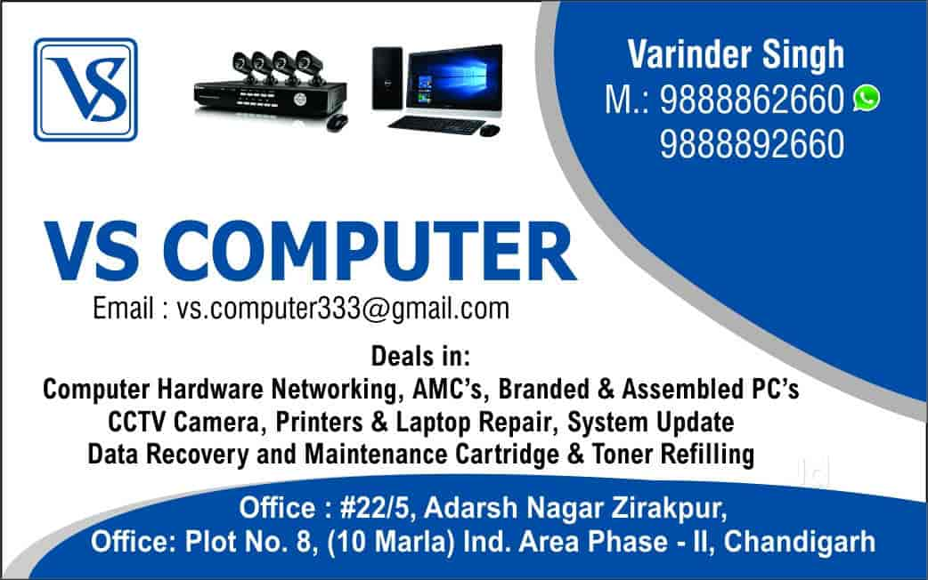 Vs computer photos chandigarh pictures images gallery justdial visiting card vs computer photos chandigarh computer hardware dealers reheart Gallery