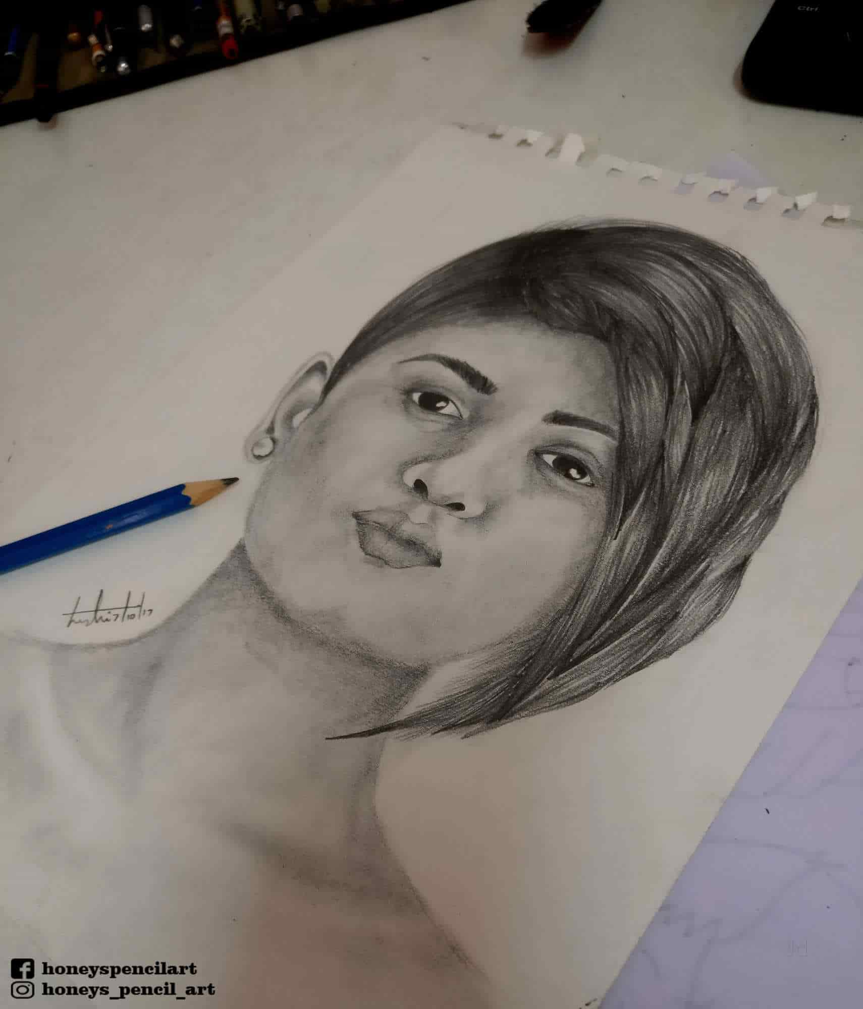 Honeys pencil arts choolaimedu portrait paintings in chennai
