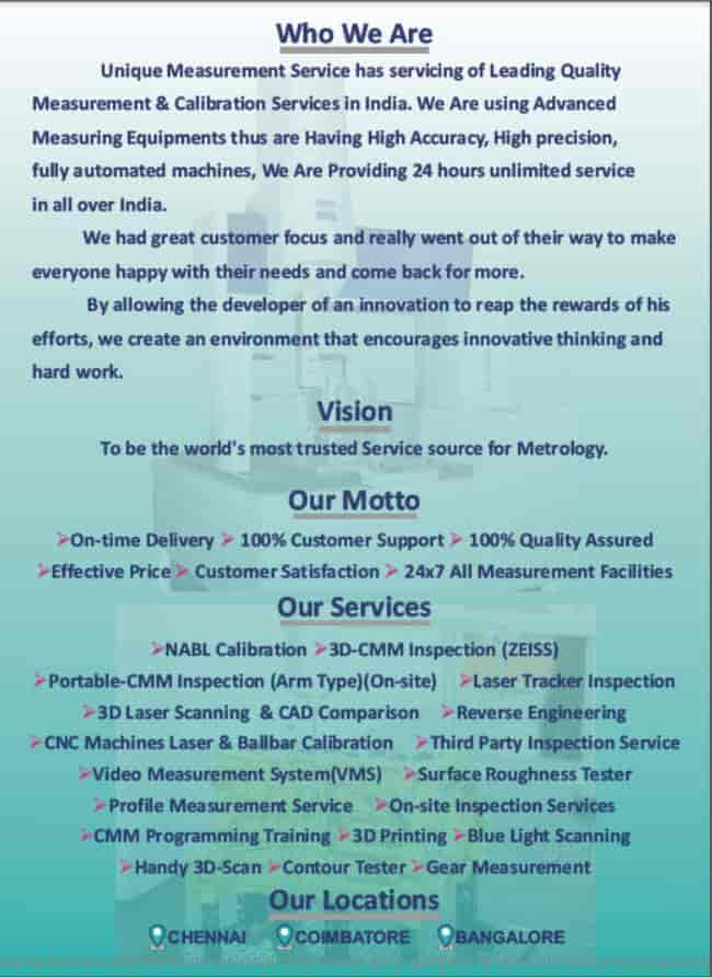 Unique Measurement Service Photos, Padi, Chennai- Pictures