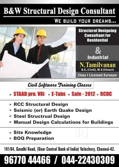 B W Structural Design Software Training Institute 181 64 Gandhi Road Staad Pro Training Centres In Chennai Justdial