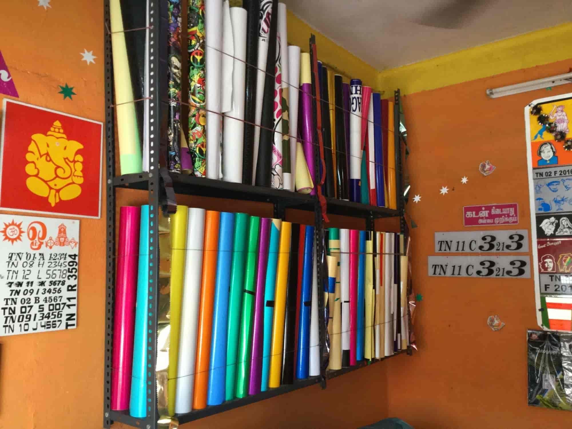 Inside view of radium sticker shop sri iyappa digital photos mudichur chennai