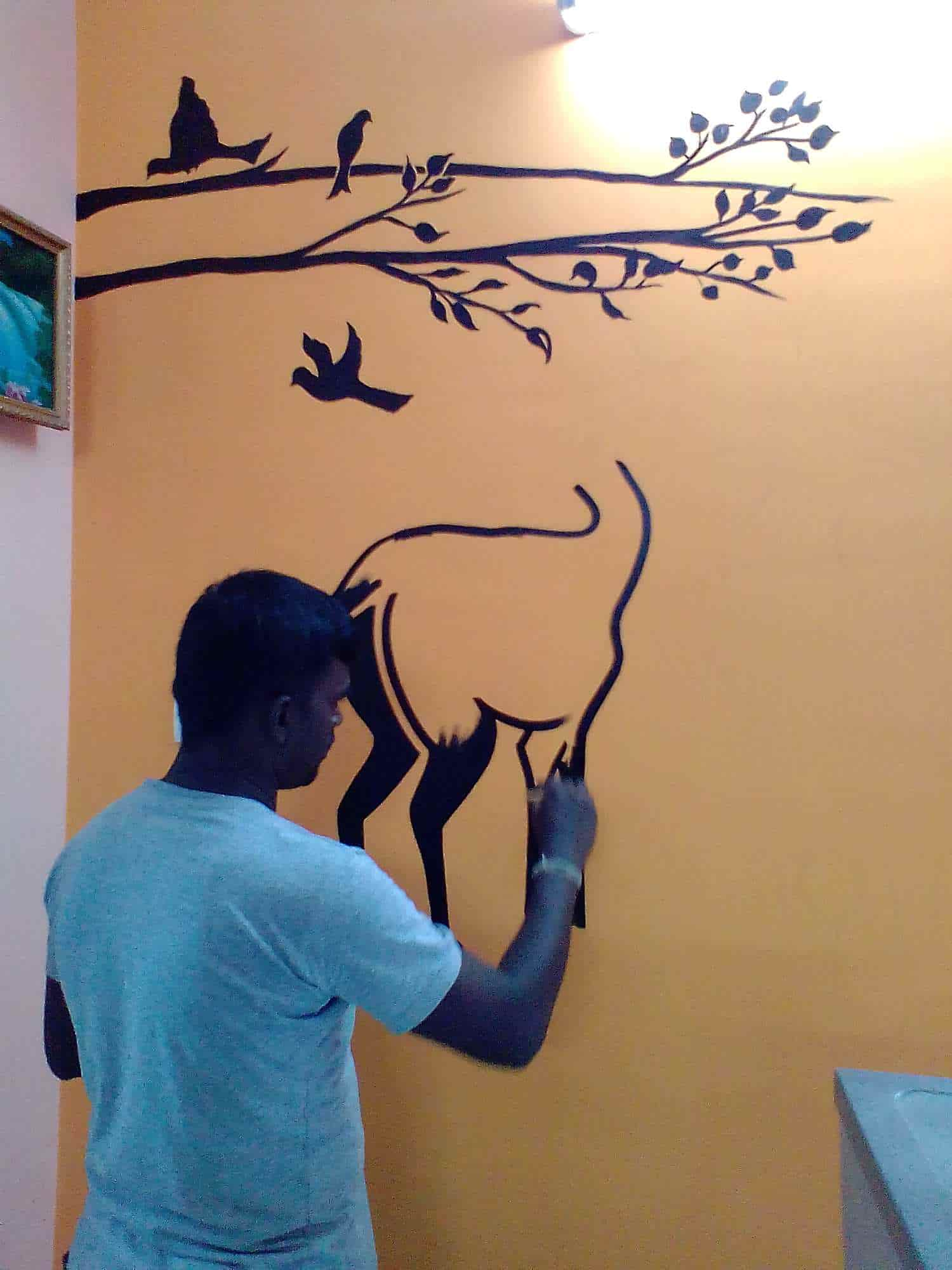 J S Wall Painting Designs With Modern Mudichur Realistic