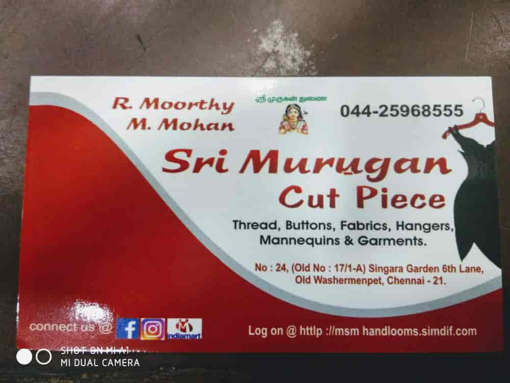 Sri Murugan Cut Piece Photos, Old Washermanpet, Chennai