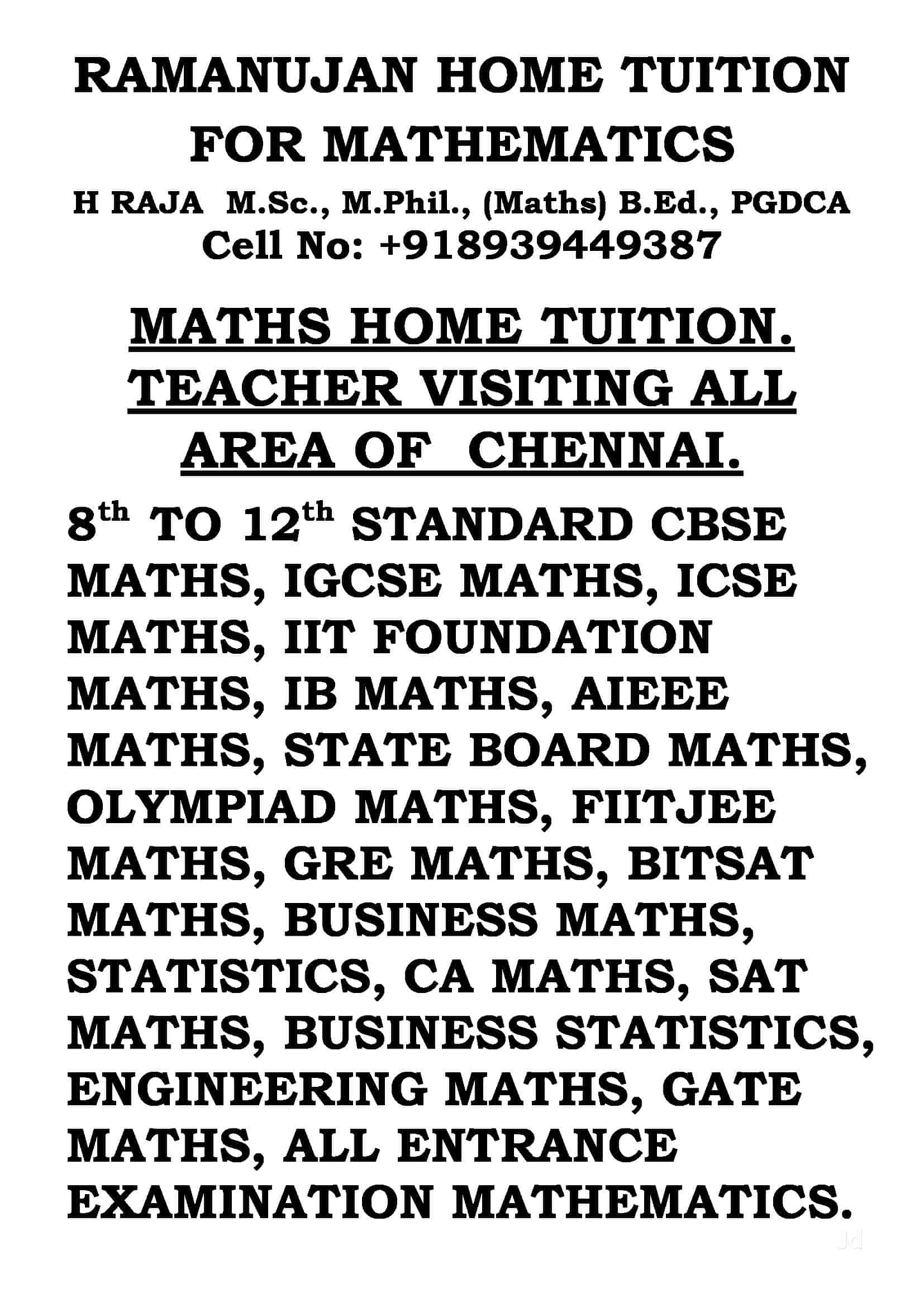 Ramanujan Home Tuition For Mathematics, Porur - Tutorials