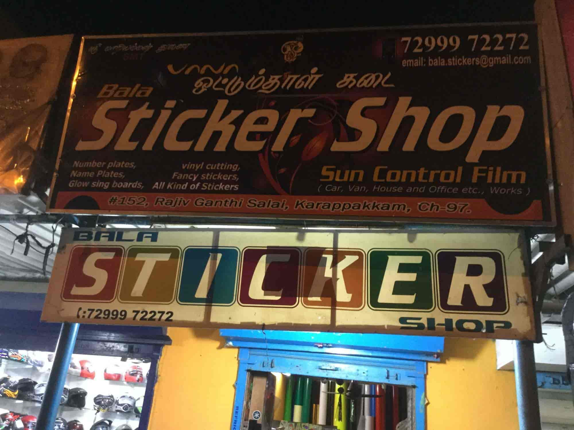 Bala sticker shop karapakkam sticker dealers in chennai justdial