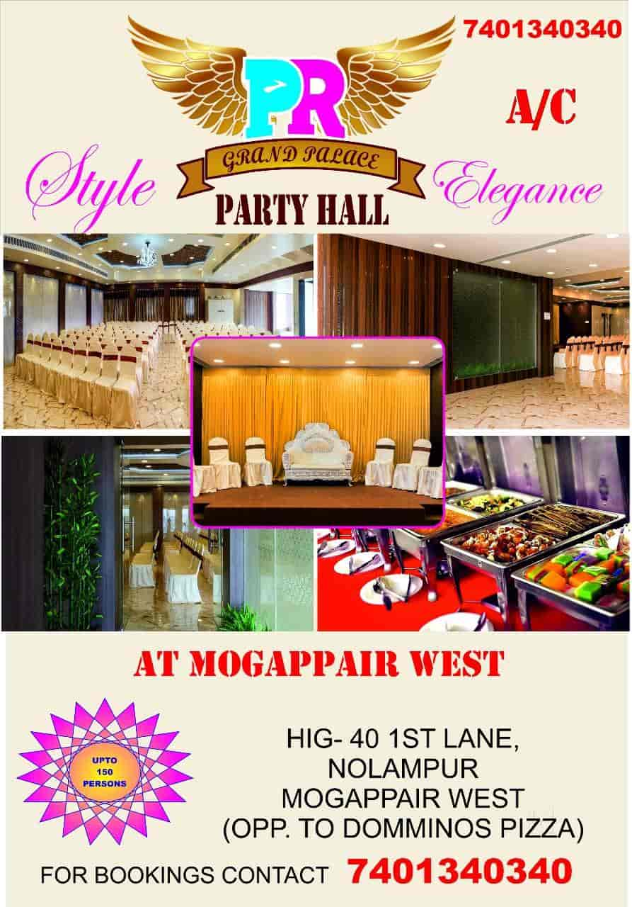 pr grand palace party hall photos mogappair west chennai pictures