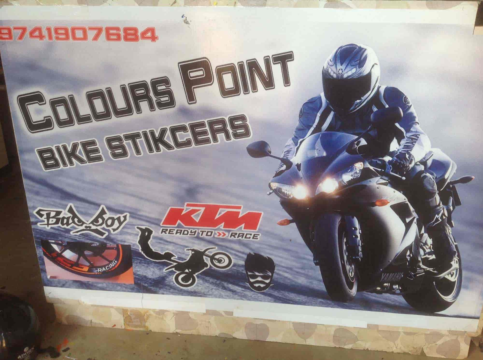 Colours point bike radium stickers modifier near rto office bus body painting contractors in davangere justdial