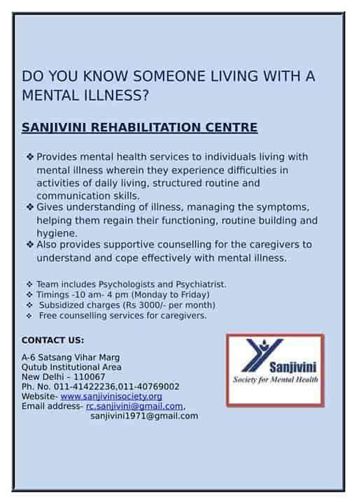 Sanjivini Society For Mental Health, Qutab Institutional Area - NGOS
