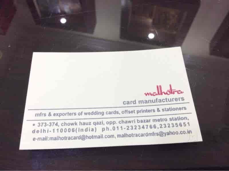 Malhotra Cards Manufacturers Hauz Quazi Wedding