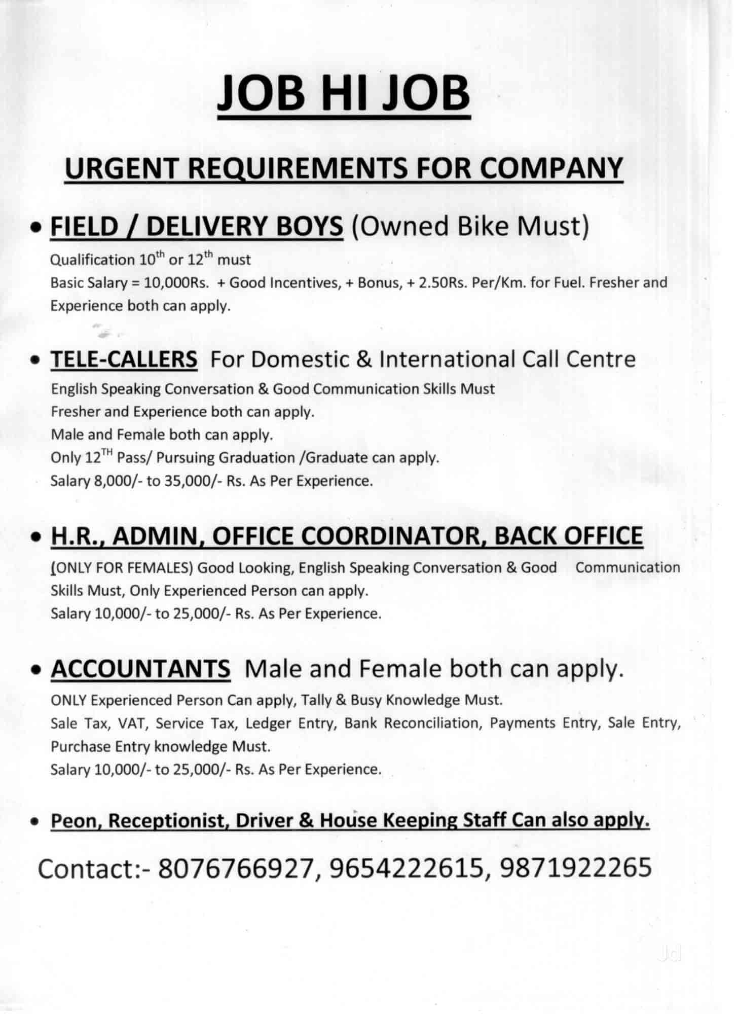 Just Join Jobs Placement Services, Sitaram Bazar - Placement