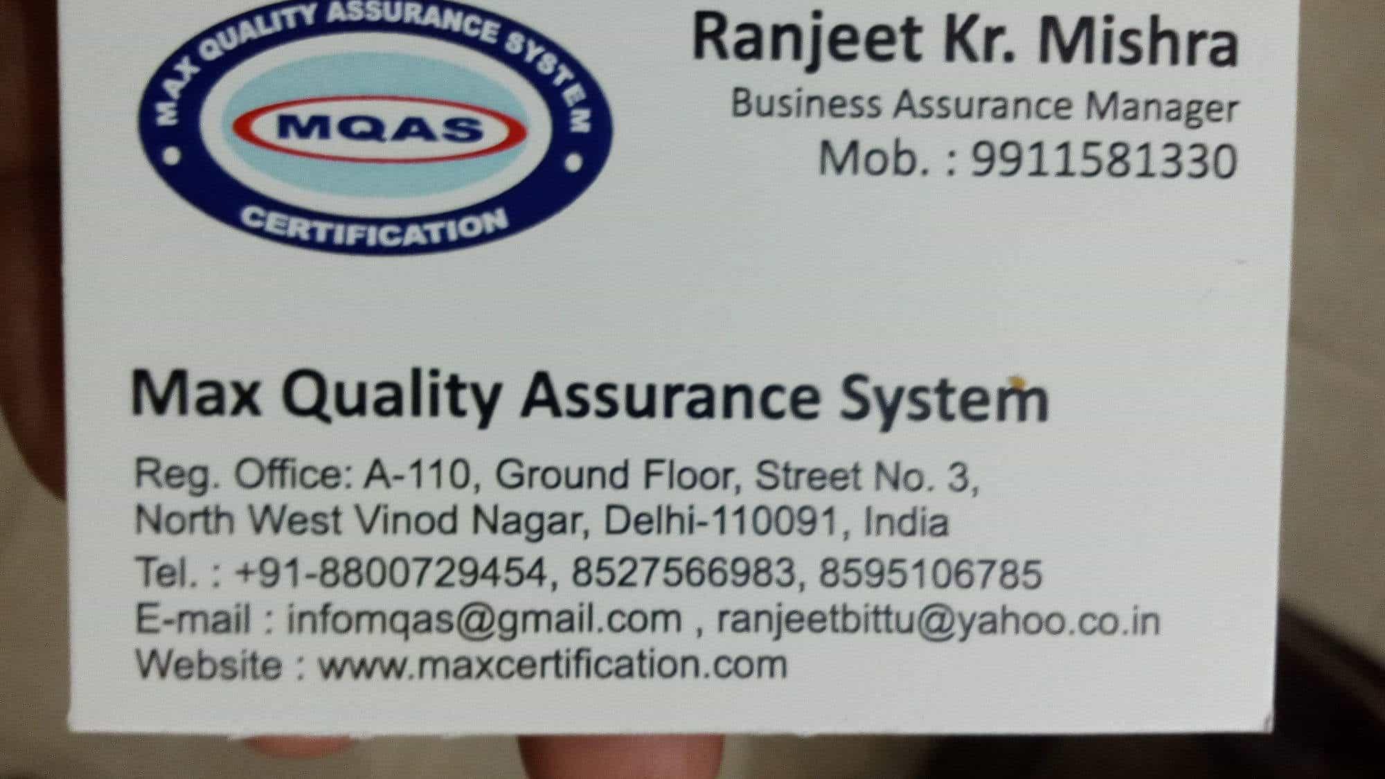 Max quality assurance system vinod nagar iso certification max quality assurance system vinod nagar iso certification consultants in delhi justdial reheart Images