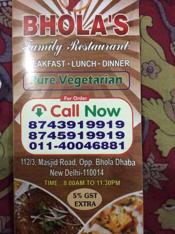 Bhola S Family Restaurant Jangpura Extention Delhi Home Delivery Restaurants Justdial