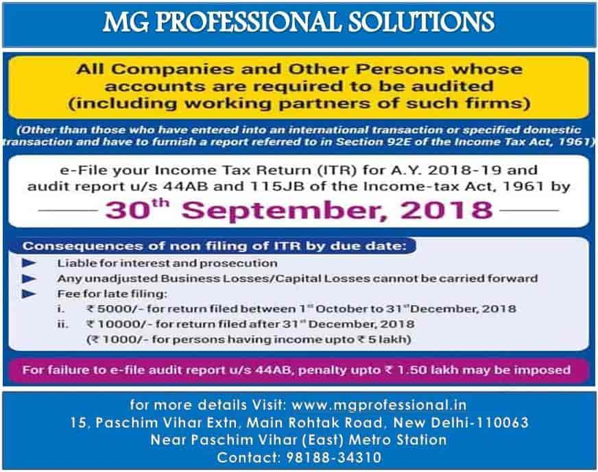 M G Professional Solutions, Paschim Vihar - CA in Delhi