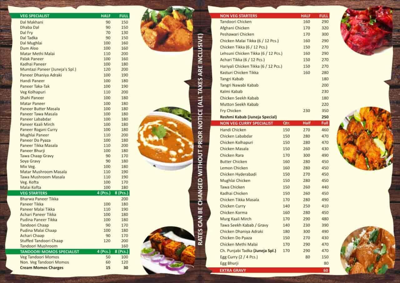 Juneja\'s Kitchen, Khanpur, Delhi - Food Menu Card - Justdial