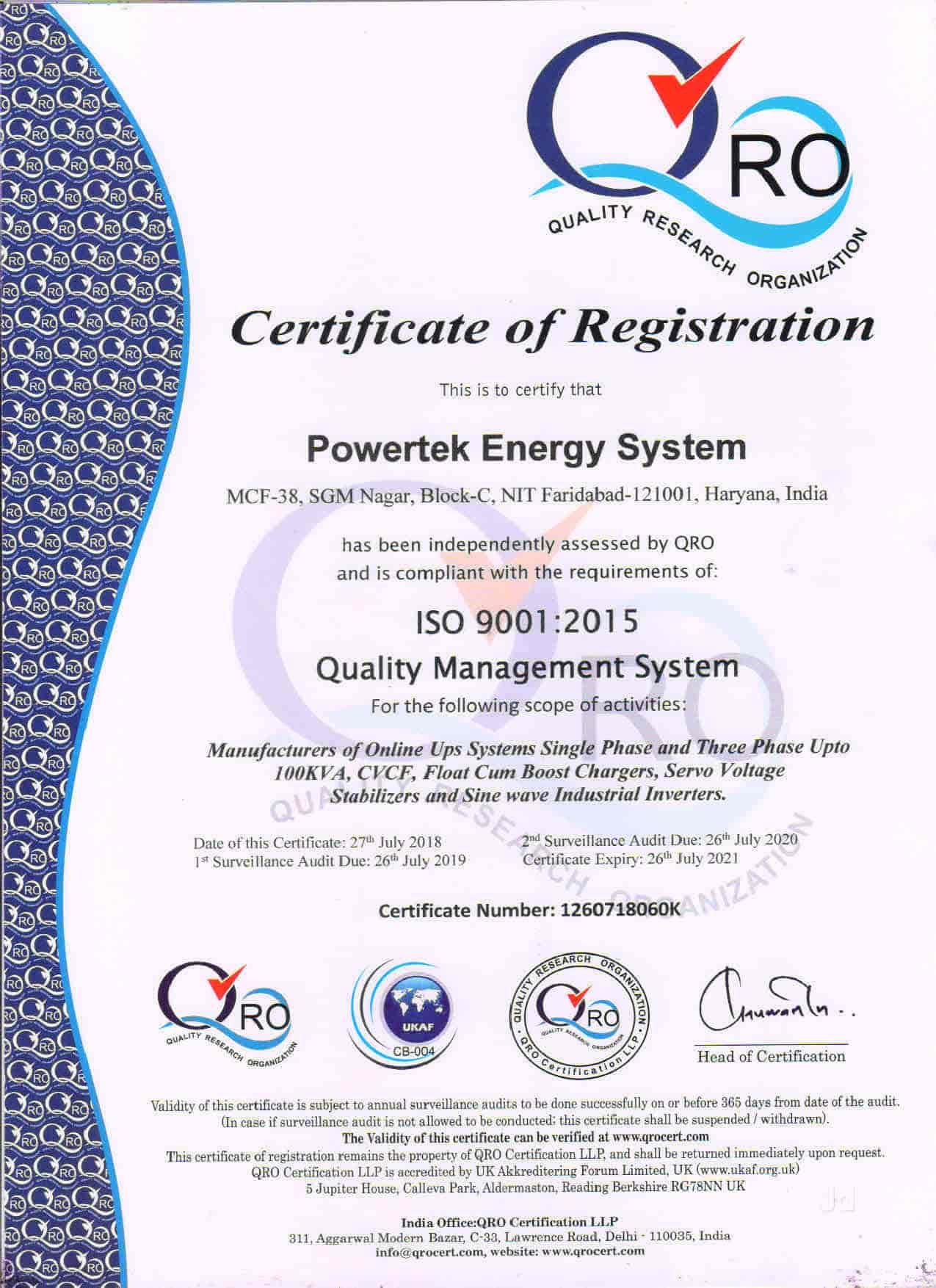 Powertek Energy Systems, NIT - UPS Manufacturers in Faridabad, Delhi