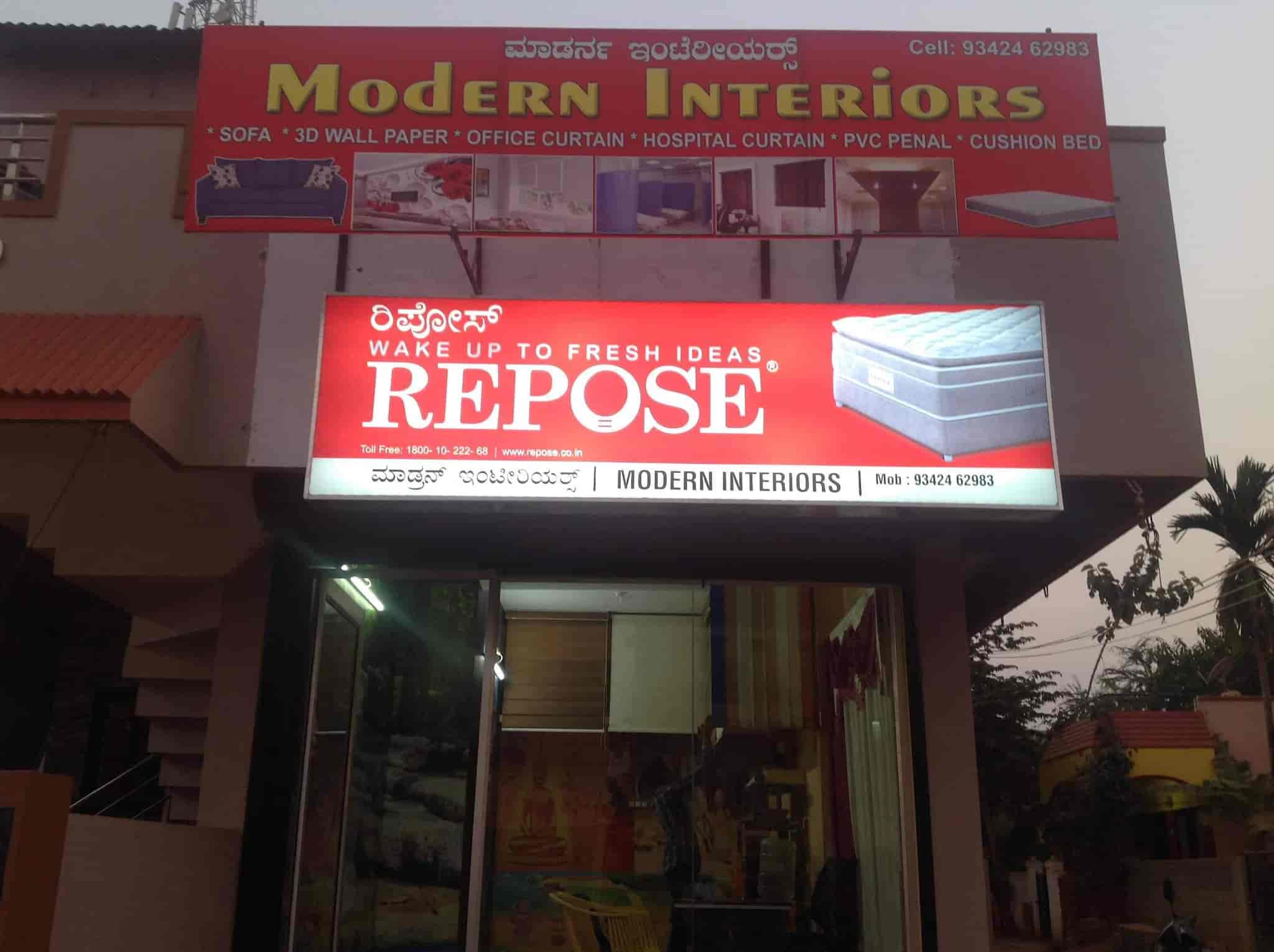 Front view modern interiors photos gokul road hubli wall paper dealers