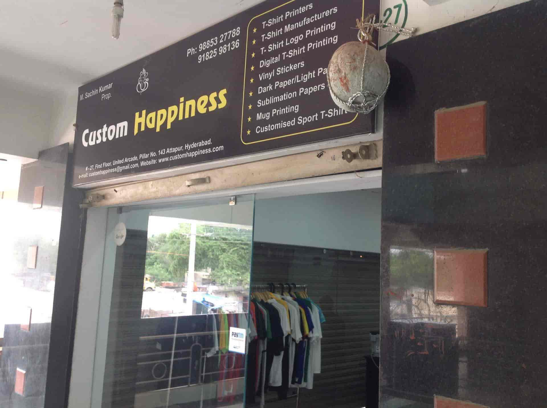 Custom happiness attapur t shirt printers in hyderabad justdial