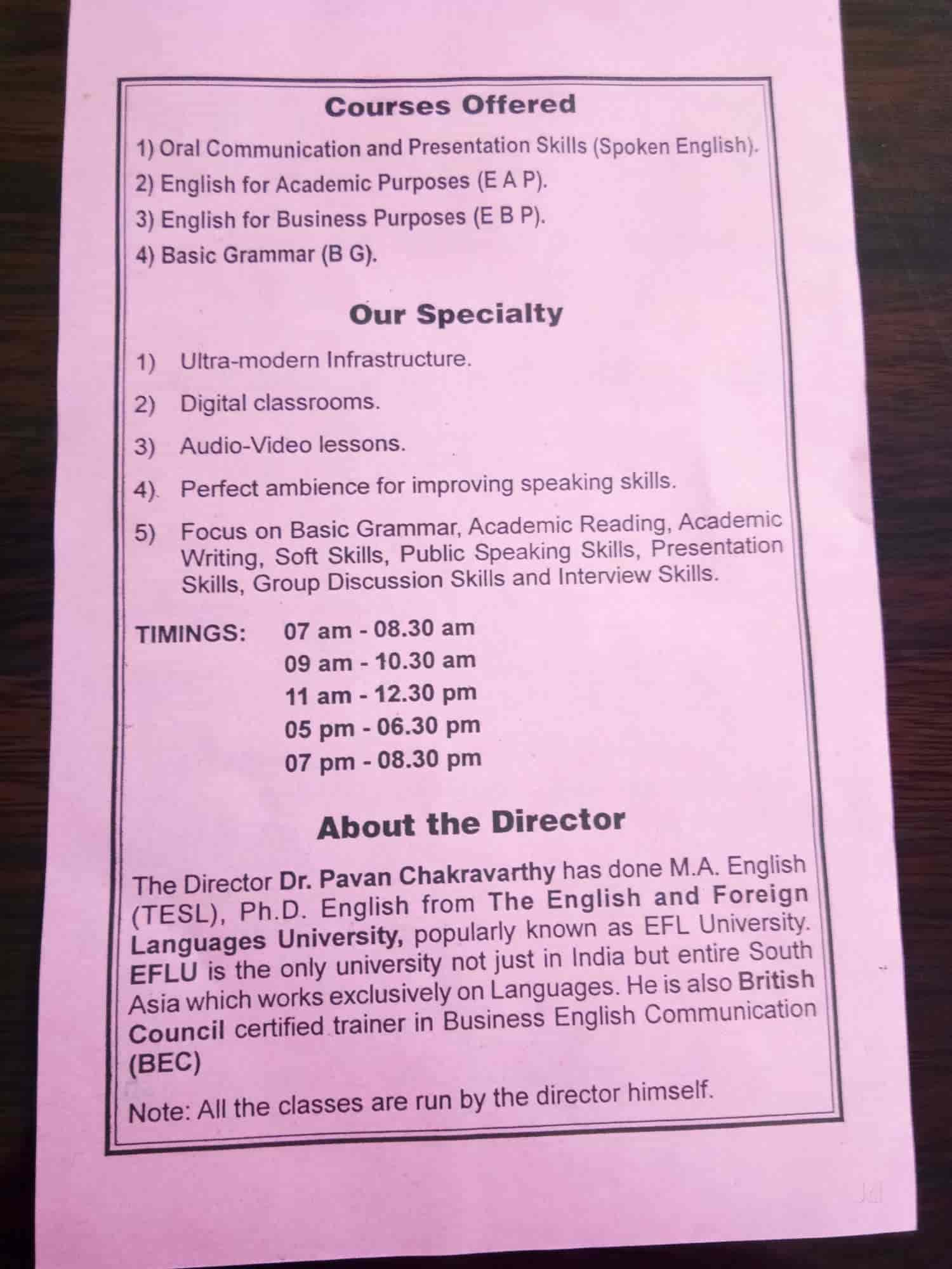 Dr Pavans Spoken English, Tarnaka - Language Classes For