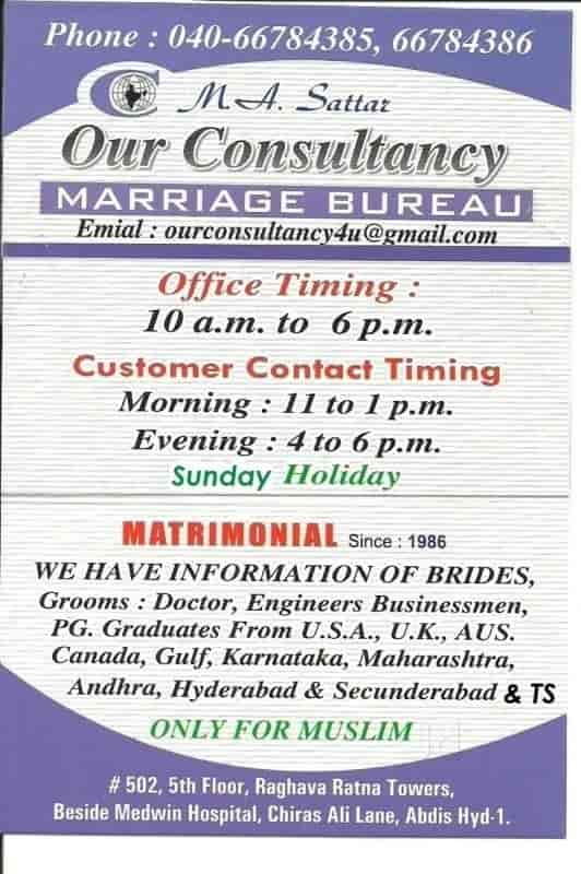 Our Consultancy Marriage Bureau Only For Muslims, Abids