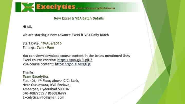 Excelytics, Ameerpet - Computer Training Institutes For