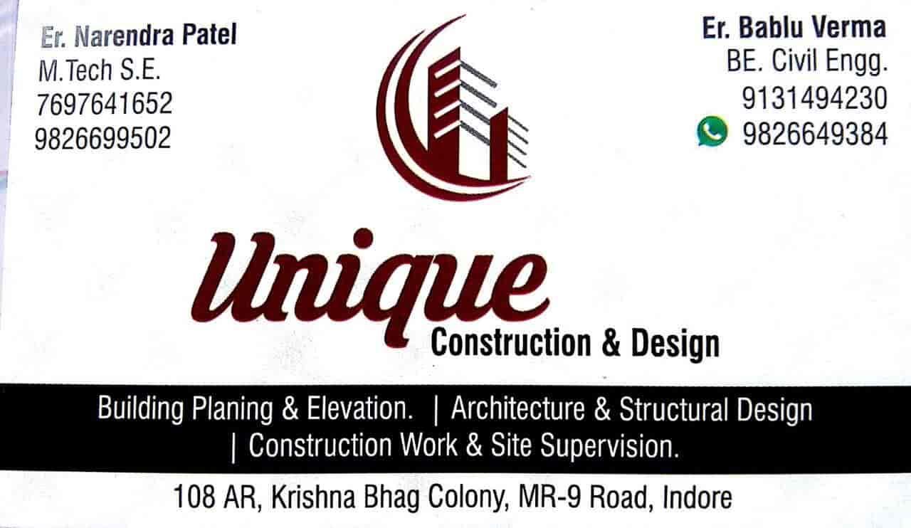 Visiting card unique construction design photos vijay nagar indore interior designers