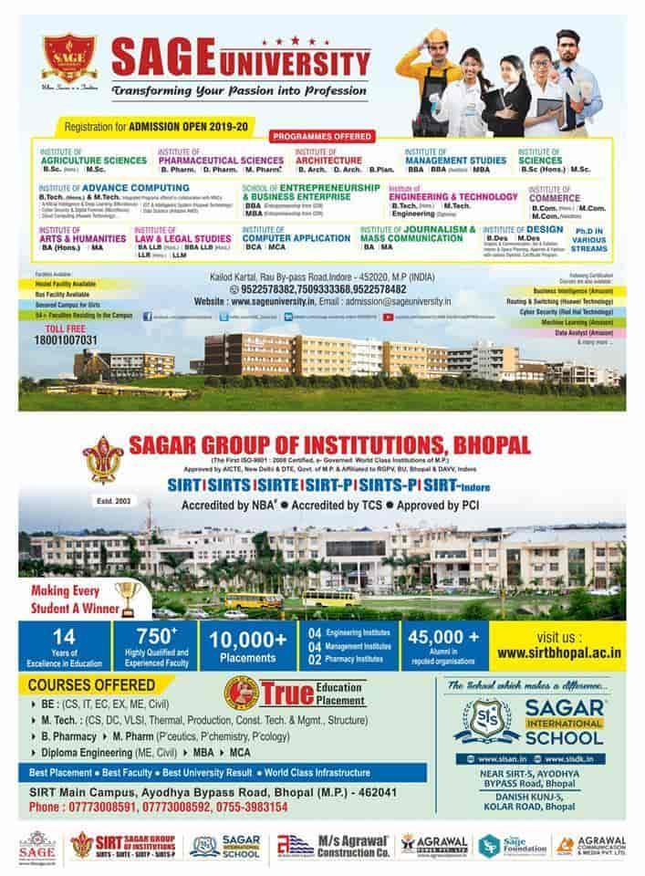 Sage University, Kelodkartal - Universities in Indore - Justdial