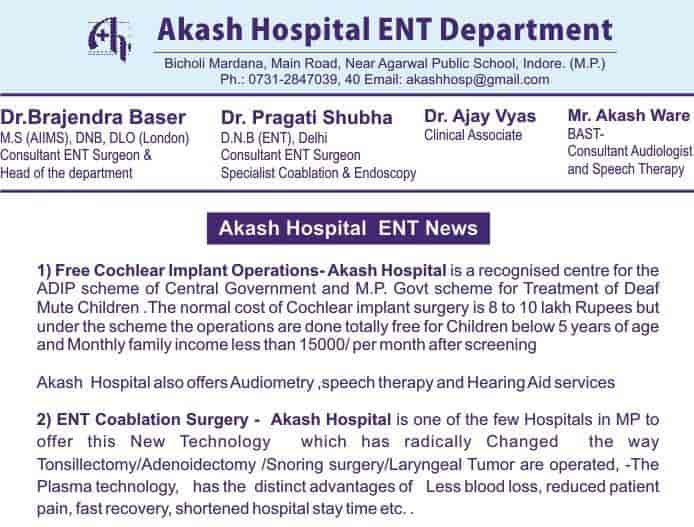 Akash Hospital - ENT Surgeon Doctors - Book Appointment Online - ENT