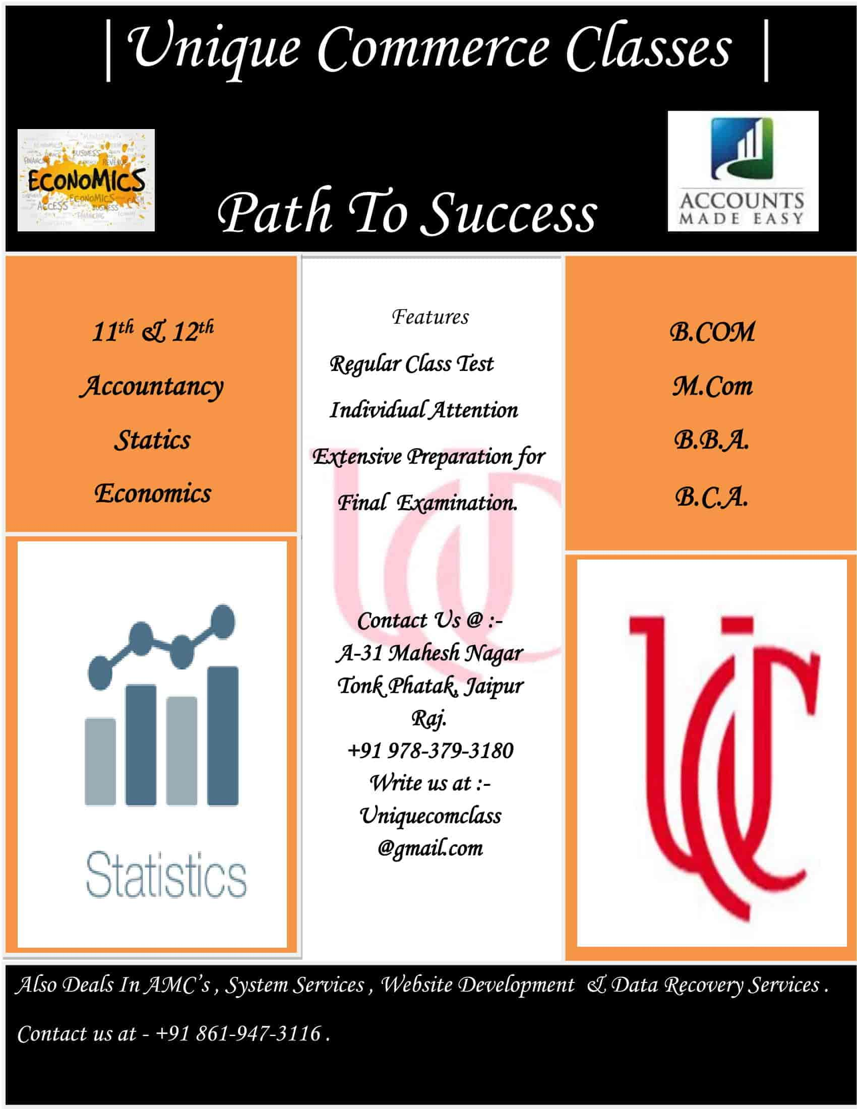 Unique Classes, Tonk Pathak - Tutorials For Commerce in Jaipur