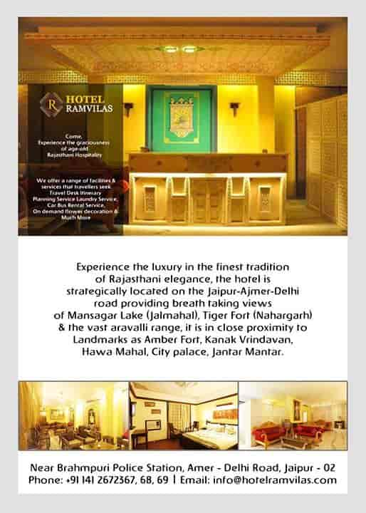 Hotel Ram Vilas, Amer Road - 3 Star Hotels in Jaipur - Justdial