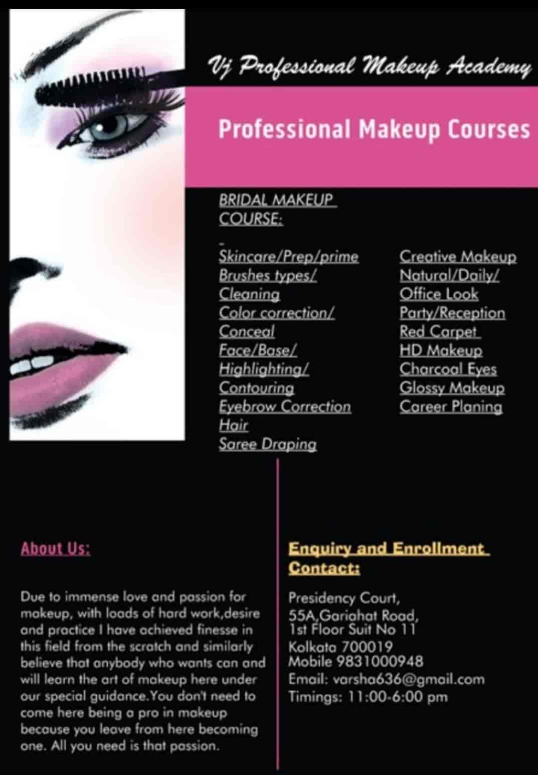 Vj Proffesional Makeup Academy Ballygunge Makeup Artists In