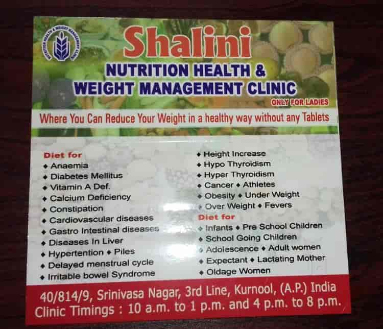 Dr Rama Devi G Shalini Health Weight Management Clinic S N Nagar Weight Loss Centres In Kurnool Justdial