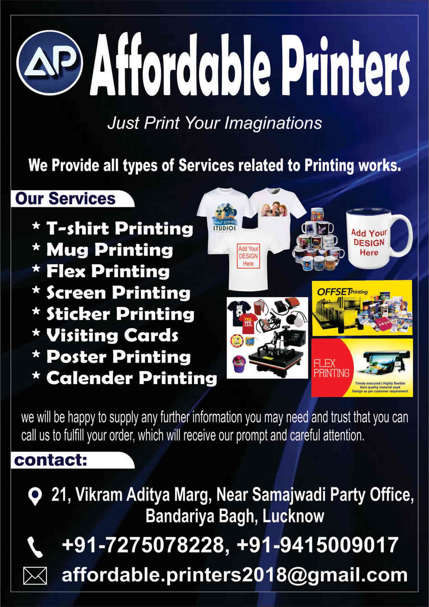 Affordable Printers Hazratganj T Shirt Printers In Lucknow Justdial