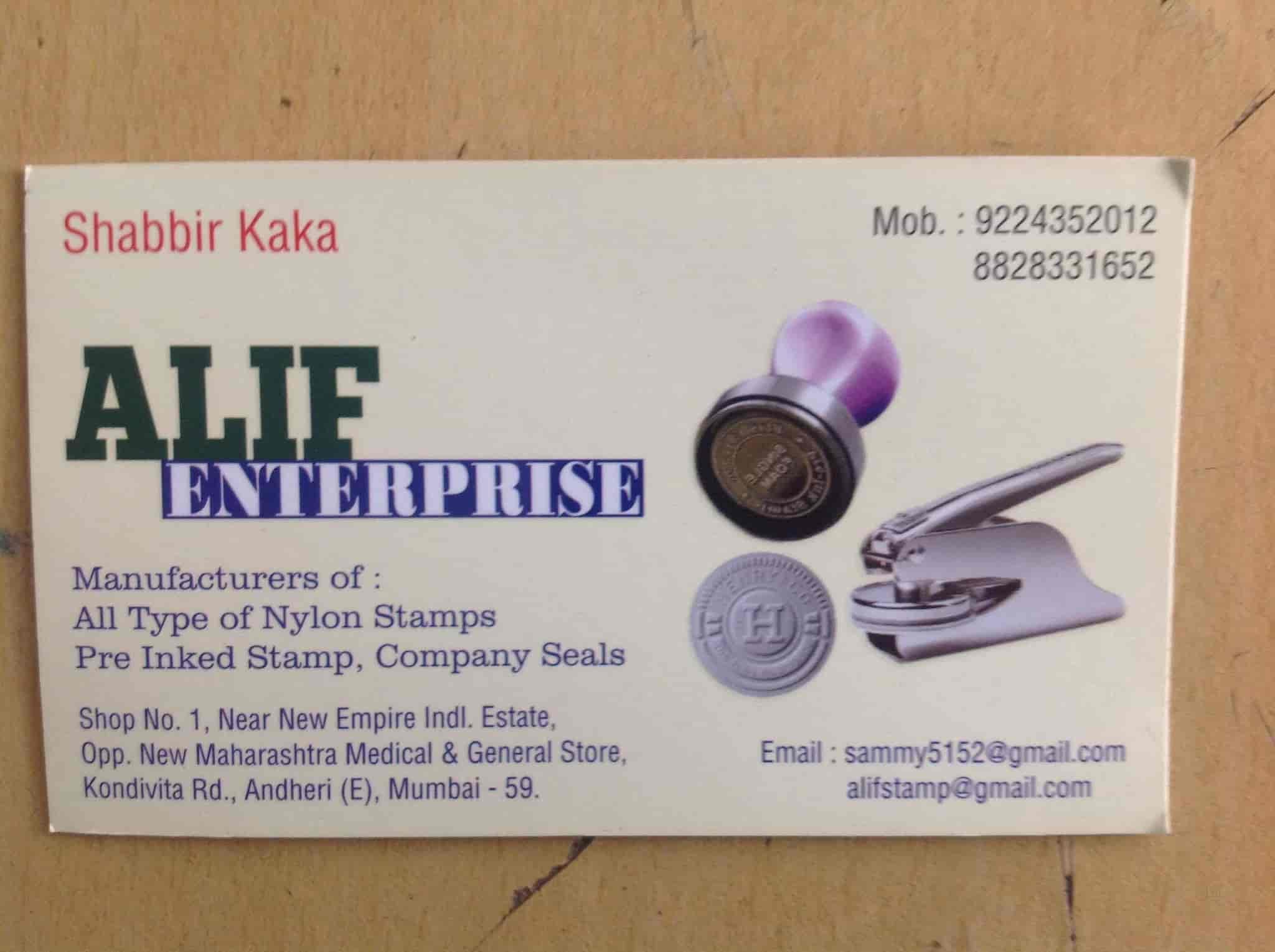 Alif Enterprises, Andheri East - Rubber Stamp Wholesalers in