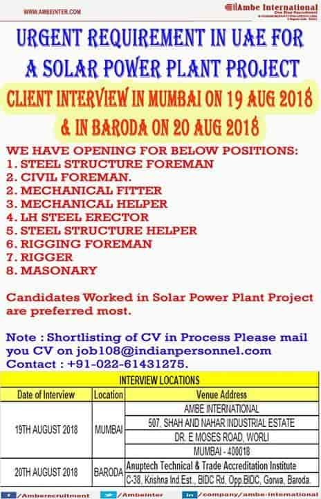 Ambe International, Worli - Overseas Placement Services (Candidate