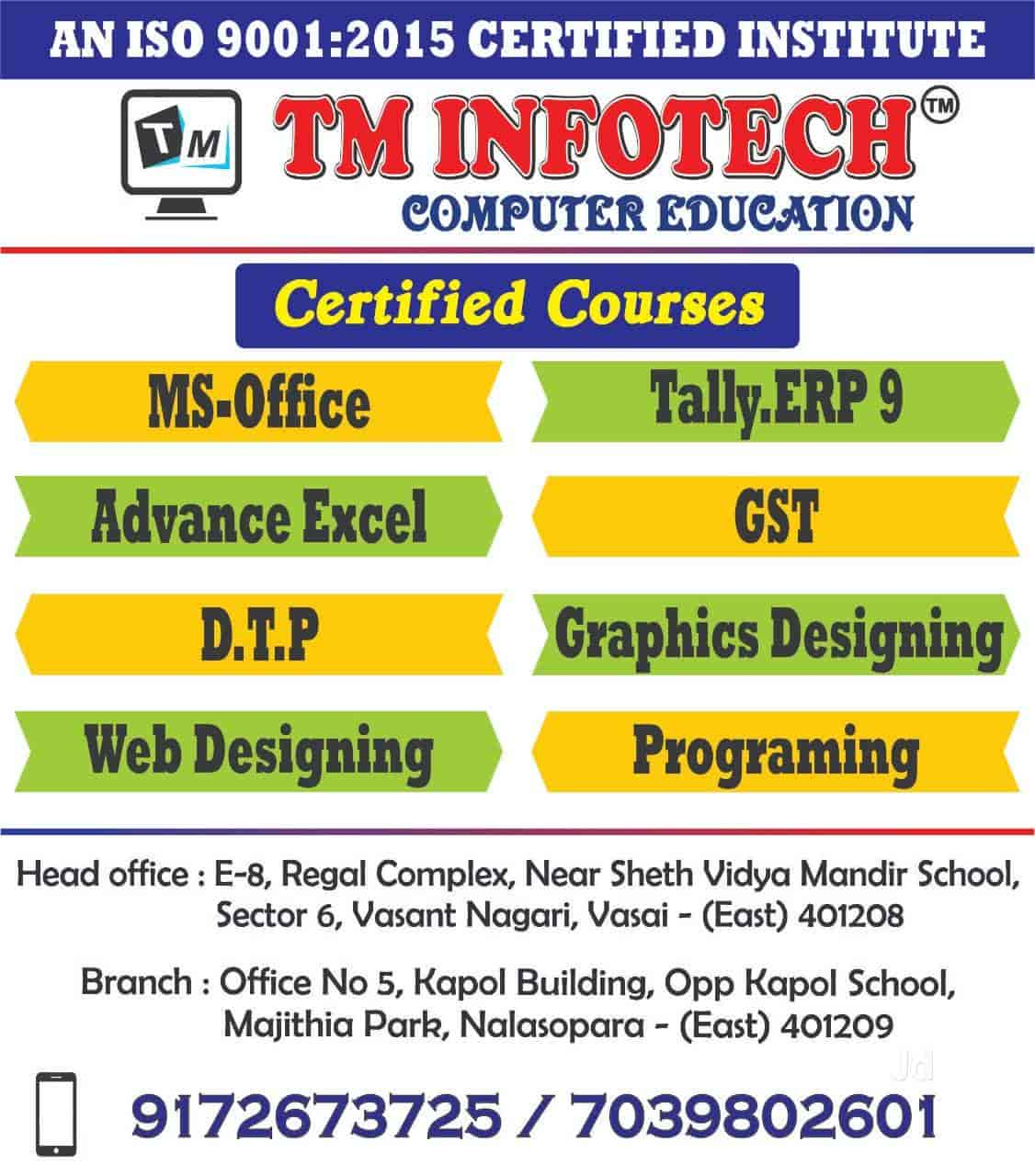 T M Infotech Computer Education Nalasopara East Computer Training Institutes In Palghar Mumbai Justdial
