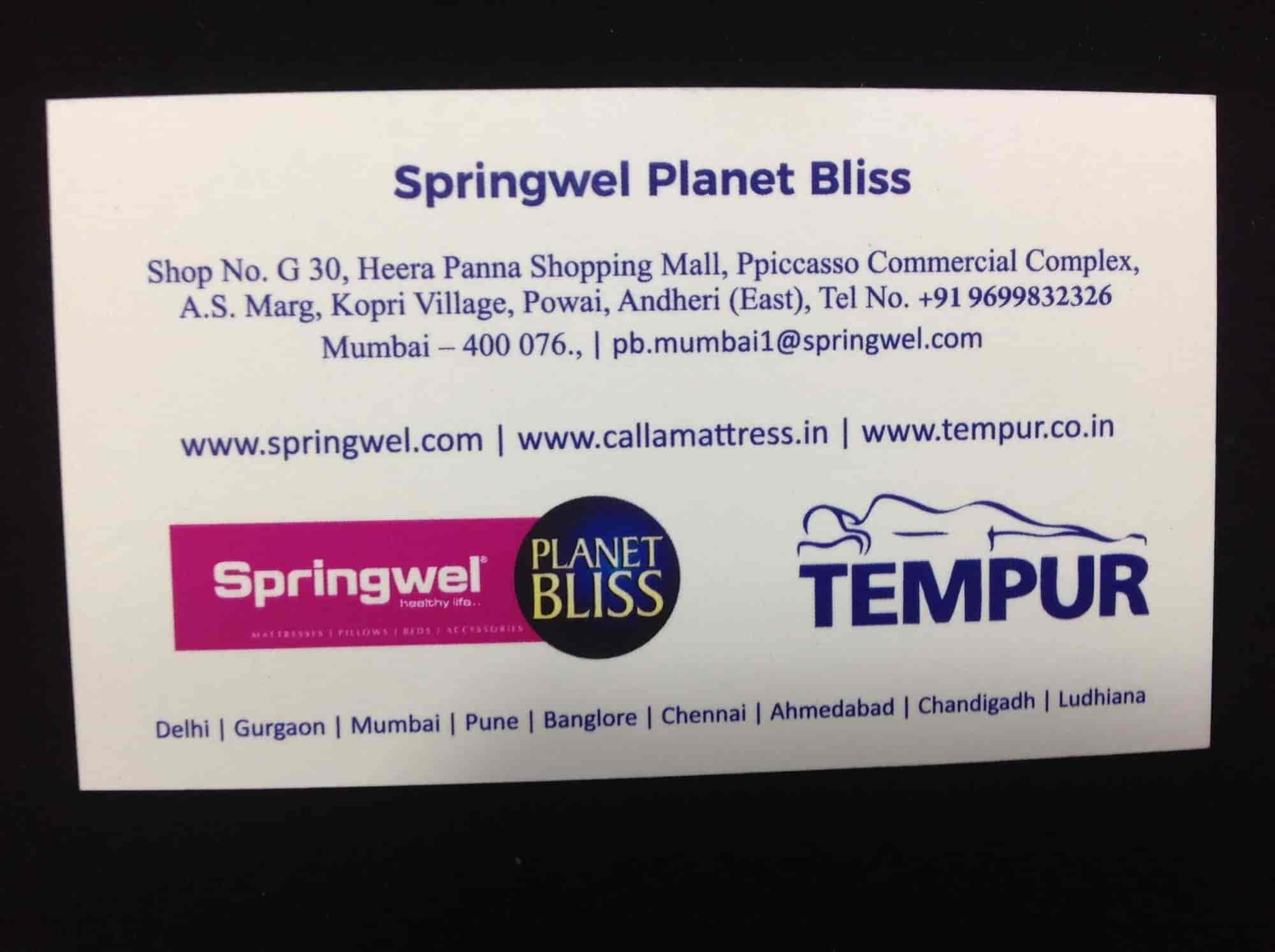 Springwel Planet Bliss, Powai - Mattress Dealers in Mumbai
