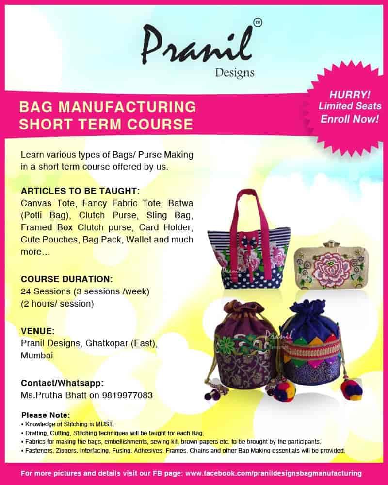 Pranil Designs Bag Making Short Term Course Ghatkopar East Vocational Training Centres In Mumbai Justdial