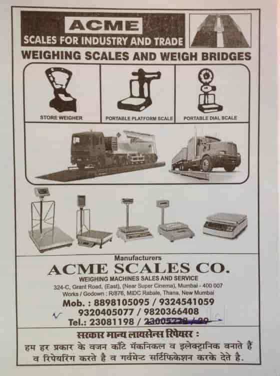 Acme Scales Company, Rabale - Weighing Machine Dealers in