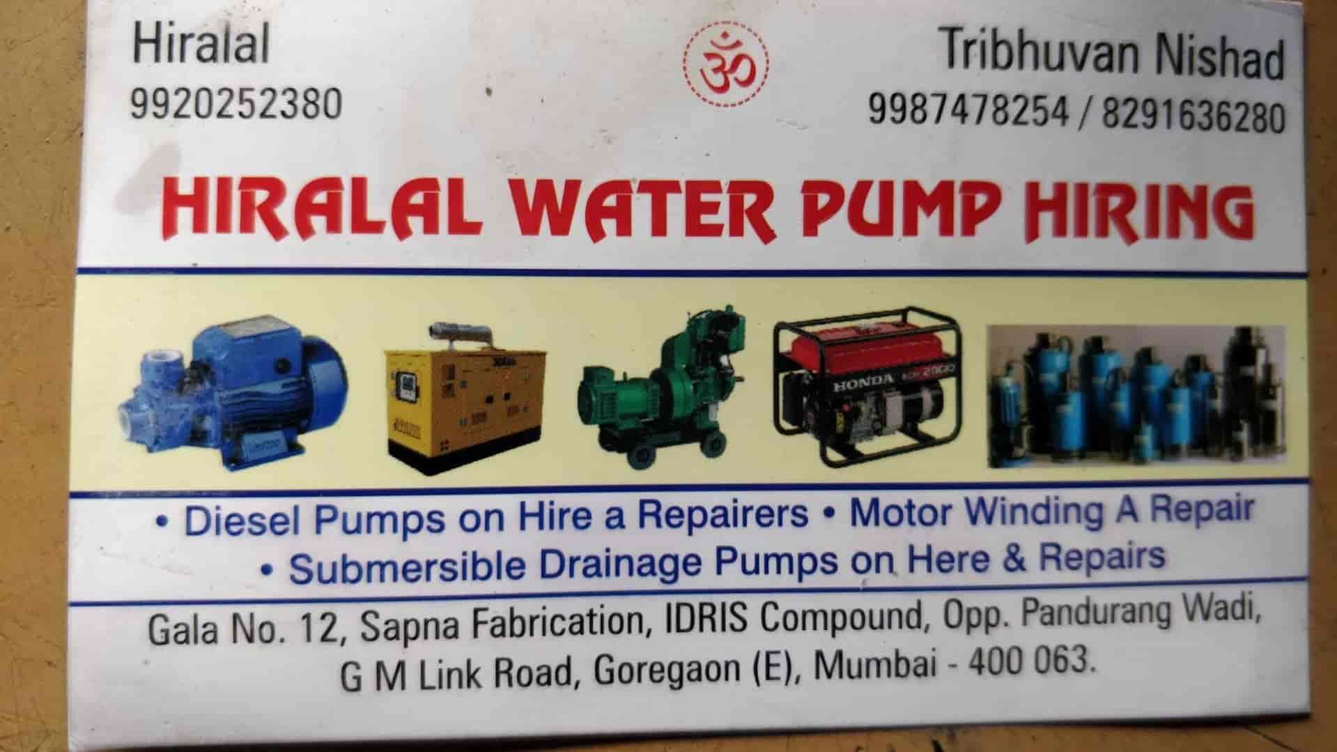 Hiralal Water Pump Hiring