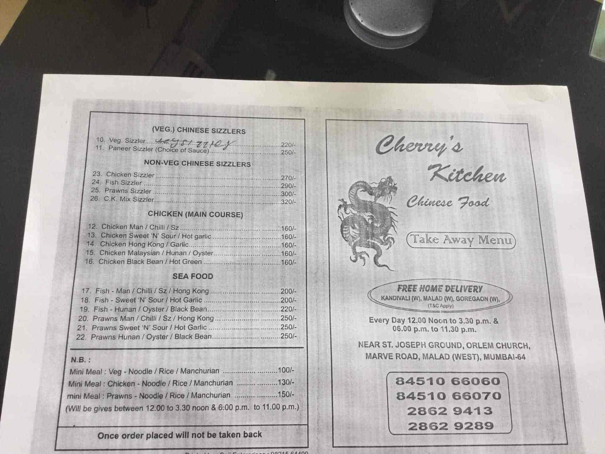 Cherrys Kitchen, Orlem-Malad West, Mumbai - Food Menu Card - Justdial